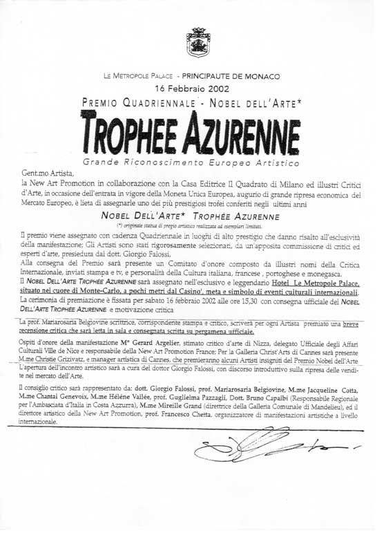 Jean Merech pittore premiato con il Trophee Azurenne